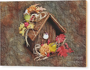 Tweet Little Bird House Wood Print by Andee Design