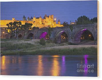 Twilight Over Carcassonne Wood Print by Brian Jannsen