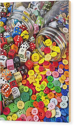 Two Jars Dice And Buttons Wood Print by Garry Gay