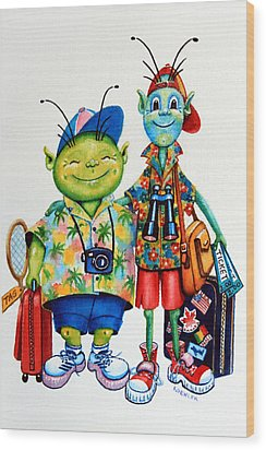 Two Tourists True Wood Print by Hanne Lore Koehler