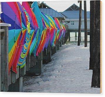 Umbrellas Wood Print by Shweta Singh