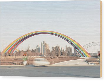 Under Rainbow Wood Print by Andy Brandl