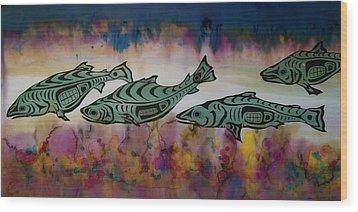 Underwater Color Wood Print by Carolyn Doe
