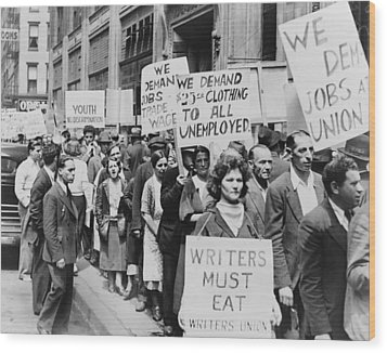 Unemployed New Yorkers Demonstrate Wood Print by Everett