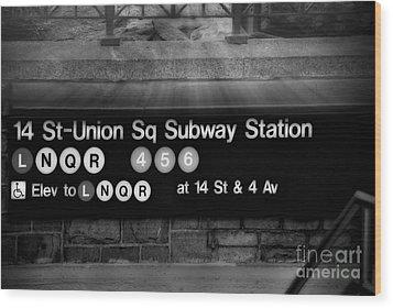 Union Square Subway Station Bw Wood Print by Susan Candelario