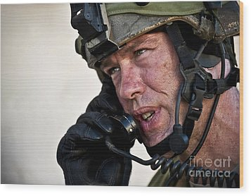 U.s. Air Force Sergeant Calls Wood Print by Stocktrek Images