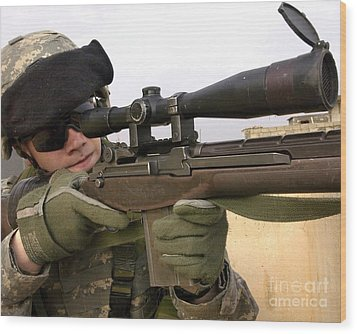 U.s. Army Specialist Provides Overwatch Wood Print by Stocktrek Images