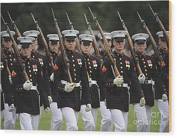 U.s. Marines March By During The Pass Wood Print by Stocktrek Images
