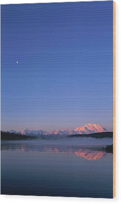 Usa, Alaska, Mount Mckinley As Seen From Wonder Lake After Sunrise Wood Print by Paul Souders