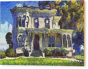 Van Gogh Visits The Old Victorian Camron-stanford House In Oakland California . 7d13440 Wood Print by Wingsdomain Art and Photography