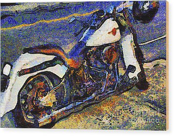 Van Gogh.s Harley-davidson 7d12757 Wood Print by Wingsdomain Art and Photography
