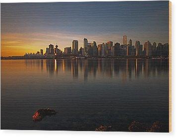 Vancouver Golden Sunrise Wood Print by Jorge Ligason