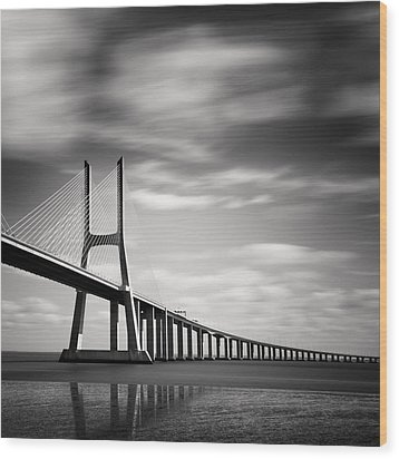 Vasco Da Gama Bridge IIi Wood Print by Nina Papiorek
