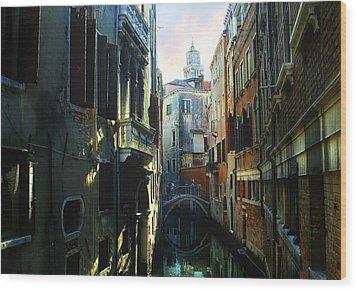 Venetian Canal Wood Print by Jan Vidra