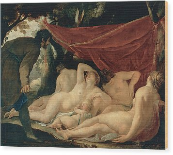 Venus And The Graces Surprised By A Mortal Wood Print by Jacques Blanchard