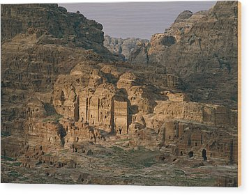 View Of A Number Of Nabataean Tombs Wood Print by Annie Griffiths
