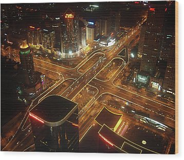 View Of Cityscape At Night Wood Print by Philip M Walker