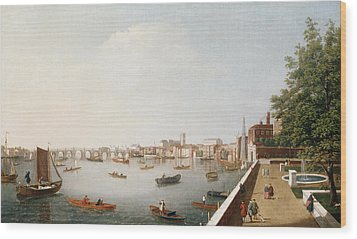 View Of The River Thames From The Adelphi Terrace  Wood Print by William James