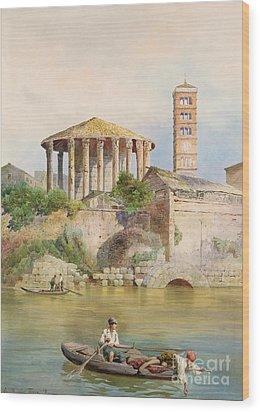 View Of The Sbocco Della Cloaca Massima Rome Wood Print by Ettore Roesler Franz