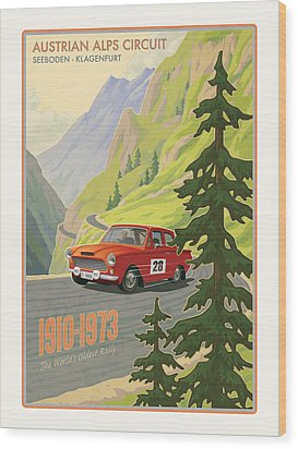 Vintage Austrian Rally Poster Wood Print by Mitch Frey