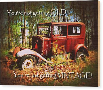 Vintage Birthday Greeting Wood Print by Cindy Wright