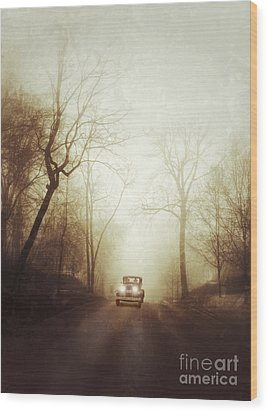 Vintage Car On Foggy Rural Road Wood Print by Jill Battaglia