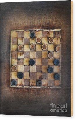 Vintage Checkers Game Wood Print by Jill Battaglia