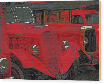 Vintage Fire Truck Techno Art Wood Print by Tony Grider