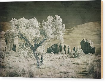 Vintage Monument Valley Desert Wood Print by Mike Irwin