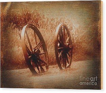 Wagon Wheels Wood Print by Ms Judi