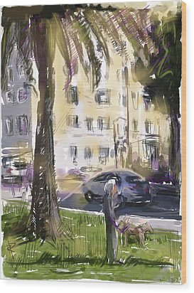 Walking The Dogs Wood Print by Russell Pierce