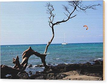 Water Sports In Hawaii Wood Print by Karen Nicholson
