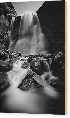 Waterfall Down The Mountains Wood Print by © Francois Marclay