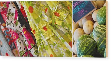 Watermelon Season Wood Print by Rebecca Cozart