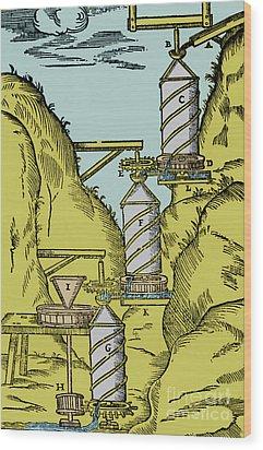 Watermill Reversed Archimedean Screw Wood Print by Science Source