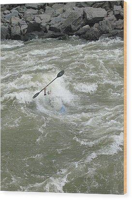 Wave Surfing Kayaker Goes Underwater Wood Print by Skip Brown
