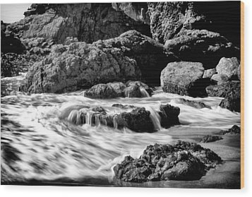 Waves On Leo Carillo State Beach Wood Print by Ken Wolter