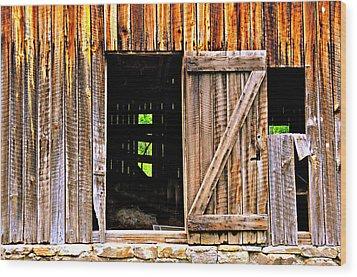 Weathered Barn Door Wood Print by Marty Koch