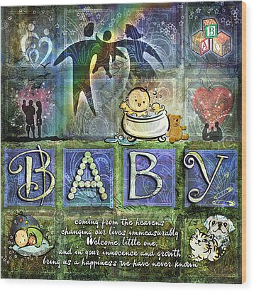 Welcome Baby Boy Wood Print by Evie Cook