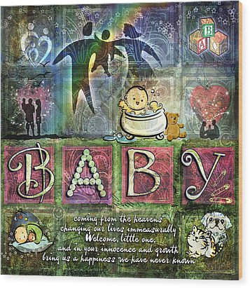 Welcome Baby Girl Wood Print by Evie Cook