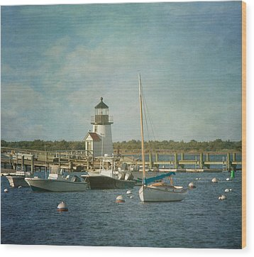 Welcome To Nantucket Wood Print by Kim Hojnacki