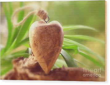 Wellnes Heart Wood Print by Tanja Riedel