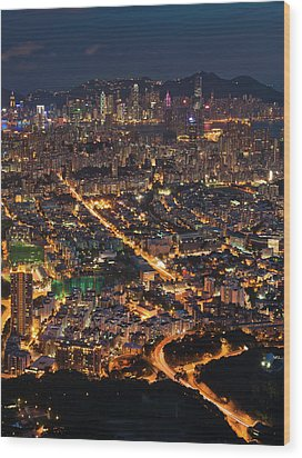 West Hongkong At Night Wood Print by Coolbiere Photograph