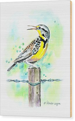 Western Meadowlark Wood Print by Arline Wagner