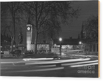Westminster Night Traffic  Wood Print by Aldo Cervato
