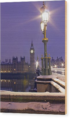 Westminster Snowfall Wood Print by Andrew Thomas