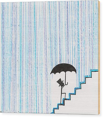 Wet Feet Freak Out Wood Print by Candace Fowler