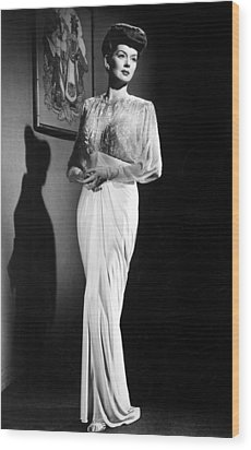 What A Woman, Rosalind Russell Wearing Wood Print by Everett