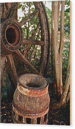 Wheel And Hub Wood Print by Frank SantAgata