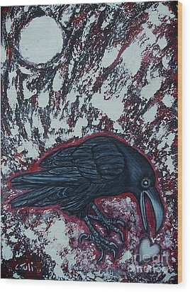 When The Raven Returned The Light Wood Print by Claudia Tuli